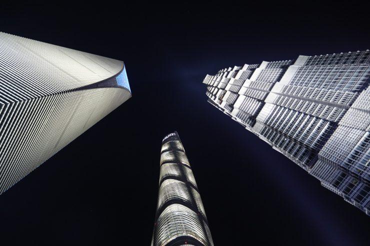 čínska architektúra v noci