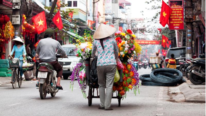 Obchodná ulica vo Vietname
